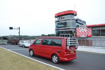 VOLKSWorld 25th Birthday Party Brands Hatch Racing Red VW California Camper Van